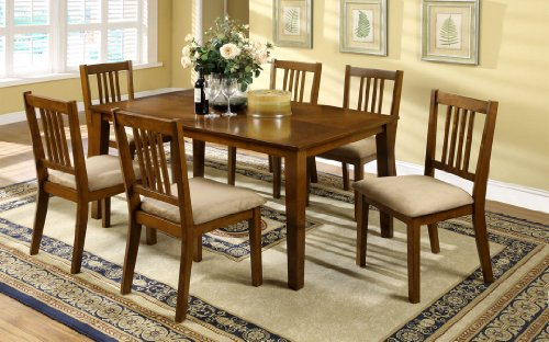 7 Pc. Mackay transitional style dark oak finish wood with microfiber upholstered seat cushions
