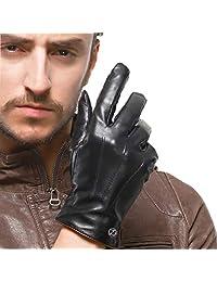 Touchscreen Leather Glove for Men - Lambskin Driving Winter Warm Fleece Lining