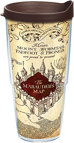 Tervis 1202240 Harry Potter - The Marauder's Map Tumbler with Wrap and Brown Lid 24oz, Clear