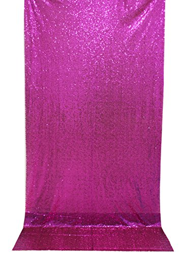Langxun 4.3ft X 8.5ft Hot Pink Shimmer Sequin Fabric Photo Booth Backdrop Sequin Curtain | Shimmer Sequin Tablecloth ( Hot Pink ) Christmas Trees Decorated With Mesh Ribbon