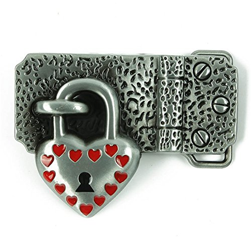 Heart Belt Buckles Western cowboy cowgirl Lock Belt Buckle for Lover (Heart Lock Belt)