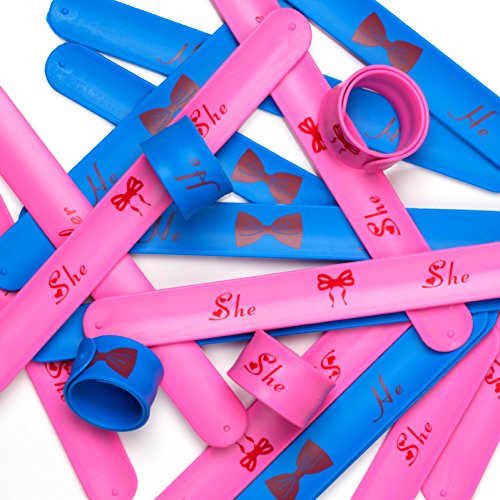 PROLOSO Gender Reveal Party Set - Slap Bracelet Wristbands (Pink & Blue) for Baby Shower Supply Props - 20PCS -  SLAP-Boy or Girl