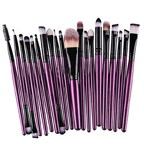 KOLIGHT 20 Pcs Pro Makeup Set Powder Foundation Eyeshadow Eyeliner Lip Cosmetic Brushes (Black+Purple)