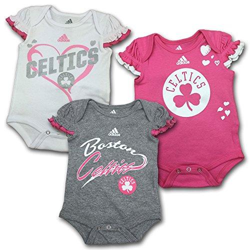 Boston Celtics GIRLS Pink 3pc Creeper Set Infant Baby (0-3 Months) (Snap Celtics Boston)