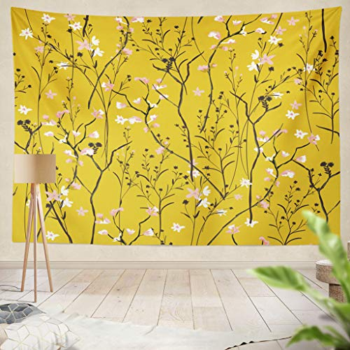 age Beautiful and Trendy Wind Flowers Summer Color Botanical Floral Fabric Hanging Tapestries 60 x 80 inch Wall Hanging Decor for Bedroom Livingroom Dorm ()