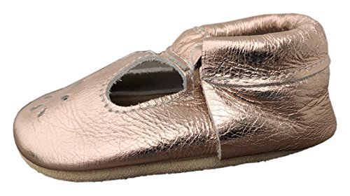 Lucky Love Baby & Toddler Soft Sole Prewalker Skid Resistant Boys & Girls Shoes (6-12 Months, T-Strap Rose Gold) by Lucky Love (Image #1)