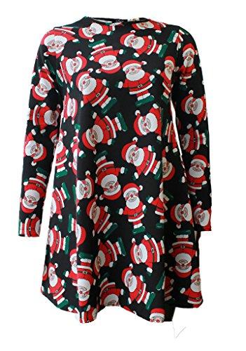 Fashion 4 Less - Vestido para mujer, manga larga, estilo navideño Black Santa