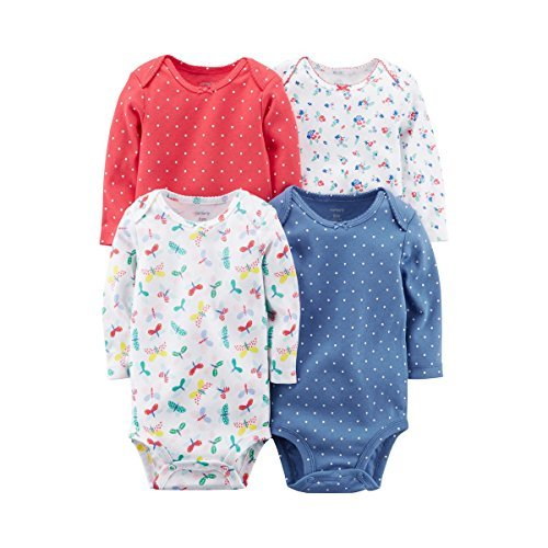 Carter's Baby Girls' Long Sleeve 4-Pk. Floral Bodysuit Set 6 Months (Infant Baby Girls Long Sleeved)
