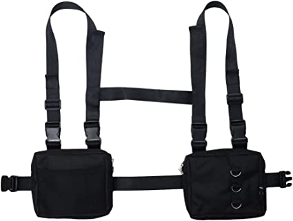 Men Women Tactical Harness Chest Rig Bag Fashion Hip-Hop Canvas Front Fanny Pack