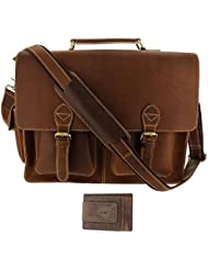 Viosi 16 Genuine Leather Laptop Briefcase Messenger Bag Front and Side Pockets with RFID Protection