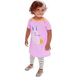 Clearance Sale!OverDose Toddler Kids Baby Girls Short Sleeve Cartoon Dresses Tunic Animals Robe Outfits Children Costume