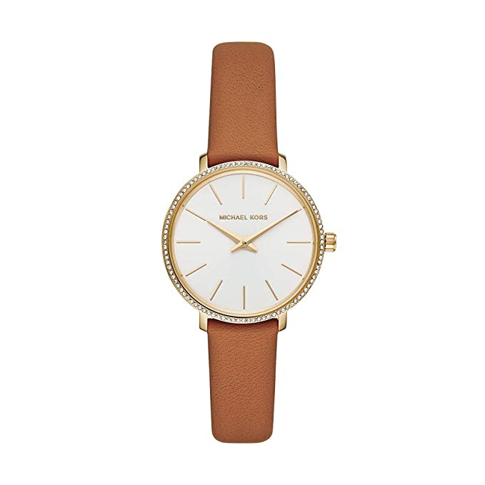 Women's Stainless Steel Quartz Watch with Leather Calfskin Strap