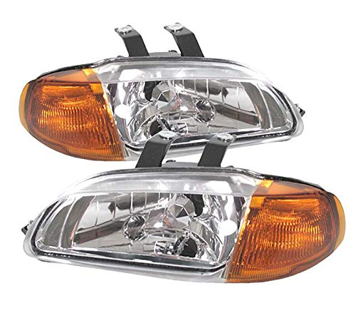 For 92-95 Honda Civic 4 Door 1 Piece Crystal Clear Lens Pair Headlights Headlamps Amber Corner (Crystal 1 Headlights Piece)