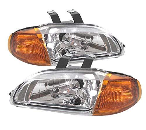 For 92-95 Honda Civic 4 Door 1 Piece Crystal Clear Lens Pair Headlights Headlamps Amber Corner 1 Piece Crystal Headlights