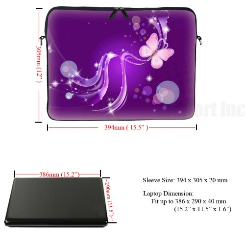 Laptop Bag Carrying 15 Hidden 6 Sleeve Butterfly Adjustable Shoulder Case Purple Portable Neoprene 15 and Strap inch Computer Handle with Swirl wPIdWqw8