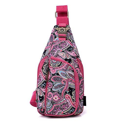 Mujeres Pecho Paquete Impresa Bolsa Lienzo Solo Espeedy Mensajero Hombro Flor rosa rojo étnico Bolsa Pecho Vintage 5qH1nxxtBg
