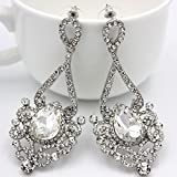 Women Wedding Earrings White Rhinestone Glass Crystal Long Drop Dangle Earring
