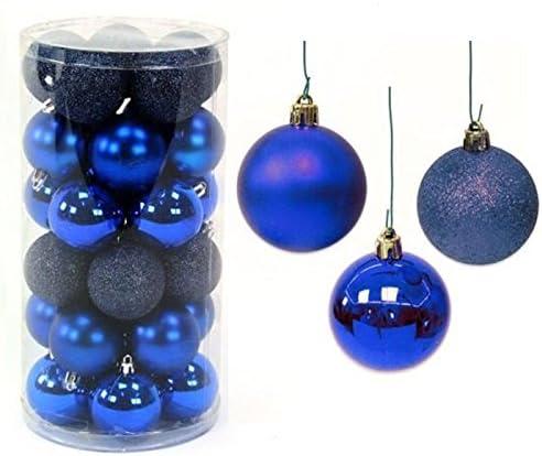 Pack 30 bolas Navidad brillo, mate purpurina 6cm Azul: Amazon.es ...