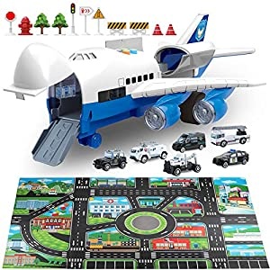 Best Epic Trends 51h9gyY%2BfZL._SS300_ Car Toys Set with Transport Cargo Airplane and Large Play Mat, Mini Educational Vehicle Police Car Set for Kids Toddlers…