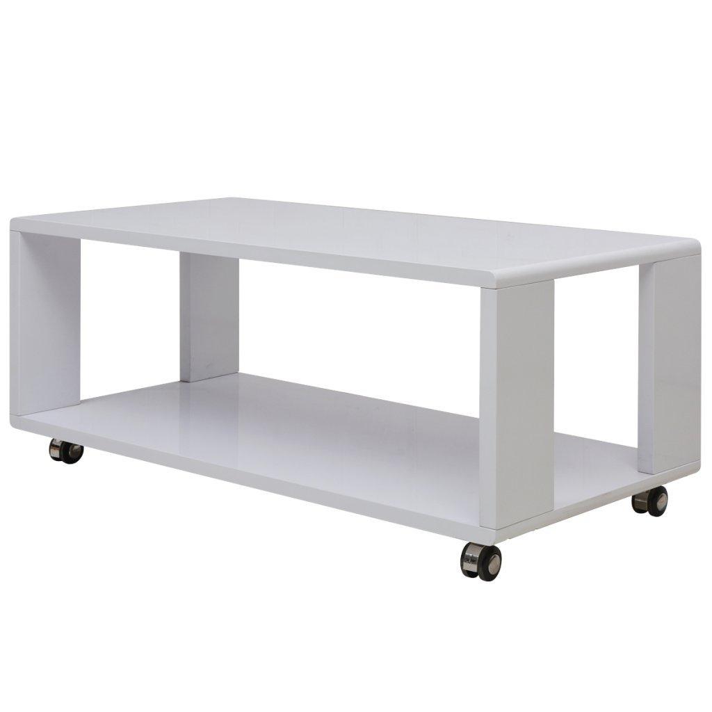 Festnight Tavolino da Caffè/Tavolino salotto Bianco Lucido