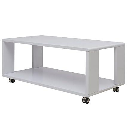 Festnight Tavolino da Caffè/Tavolino salotto Bianco Lucido: Amazon ...