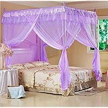 Mengersi Princess 4 Corners Post Bed Curtain Canopy Mosquito Netting (Purple, Twin)