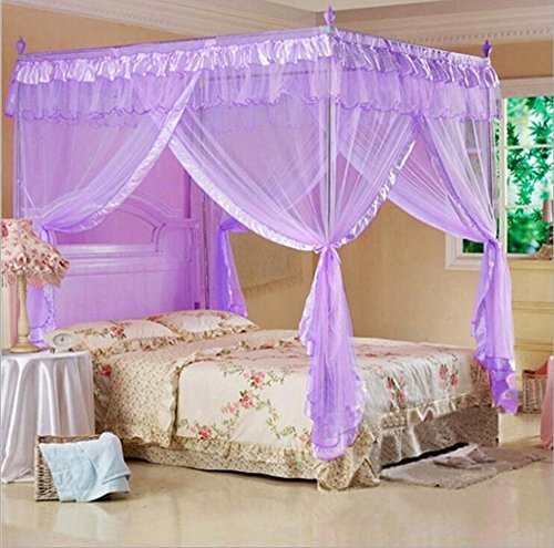 Mengersi Princess 4 Corners Post Bed Curtain Canopy Mosquito Netting (Purple, (Purple Post)