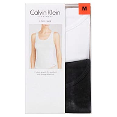 aeb8248eca1c8 Amazon.com  Calvin Klein Womens 2 Pack Tank Tops Black   White Small   Clothing