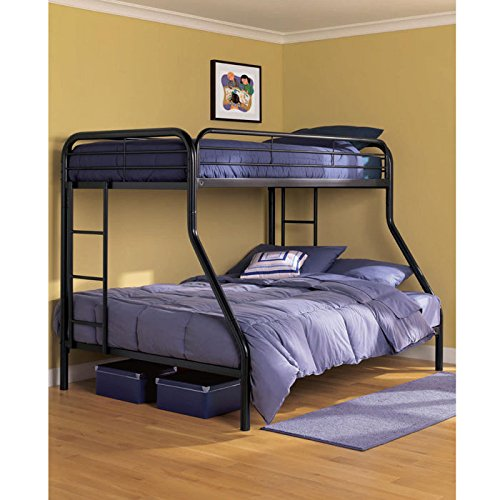 DHP Twin-Over-Full Bunk Bed with Metal Frame and Ladder, Space-Saving Design
