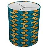 Hardback Linen Drum Cylinder Lamp Shade 8'' x 8'' x11'' Spider Construction [ Orange Blue Fish ]