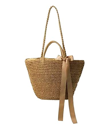 4bdad7bb0c80a Amazon.com : Straw Bag Beach Handbag Summer Bag Lightweight Holiday Style  [Light Brown] : Beauty