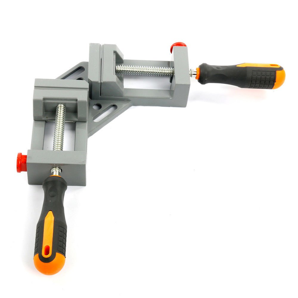 NUZAMAS 90 Degree Corner Clamp Right Angle Clamp Aluminum Alloy Made, Adjustable Swing Jaw Corner Clamp, Woodworking Vice Wood Metal Welding Gussets, Double Handle