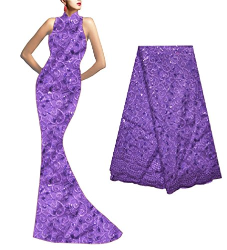 SanVera17 African Lace Net Fabrics Nigerian French Fabric Embroidered and Beading Guipure Cord Lace for Party Wedding (purple) 5 Yards us-fabric-050-1 (5 Yards Quilt Cotton Fabric)