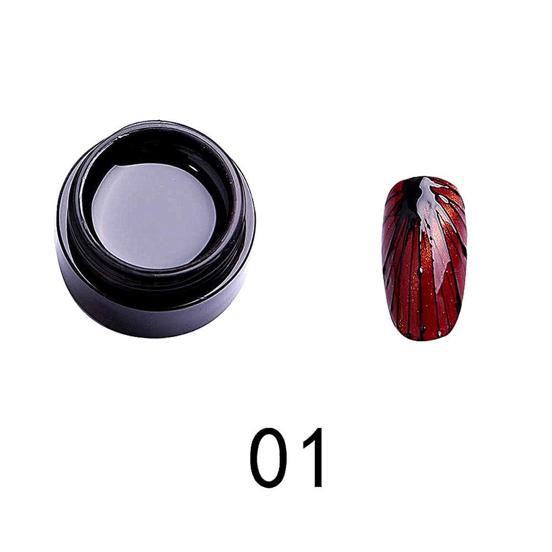 3D Color Gel UV de uñas de arte de pintura dibujar la pintura del clavo del gel del polaco del gel para uso profesional o en el hogar - Blanco Snner