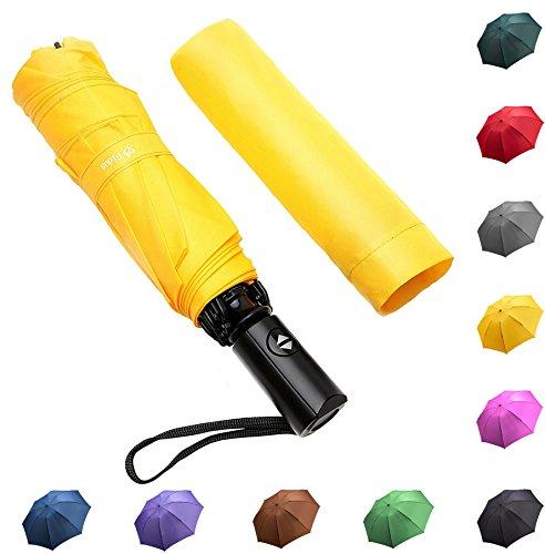 Fidus Reverse/Inverted Automatic Windproof Folding Travel Umbrella - Compact Lightweight Portable Outdoor UV Protection Golf Umbrella For Women Men Kids-Yellow