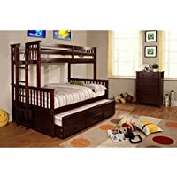 Somerset Espresso Finish Twin / Full Size Bunk Bed w/ Trundle