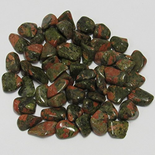 World of Gaia Rocks: Unakite Tumbled Stones small 1/2 Lb Bulk 5/8-1 (Unakite Green)