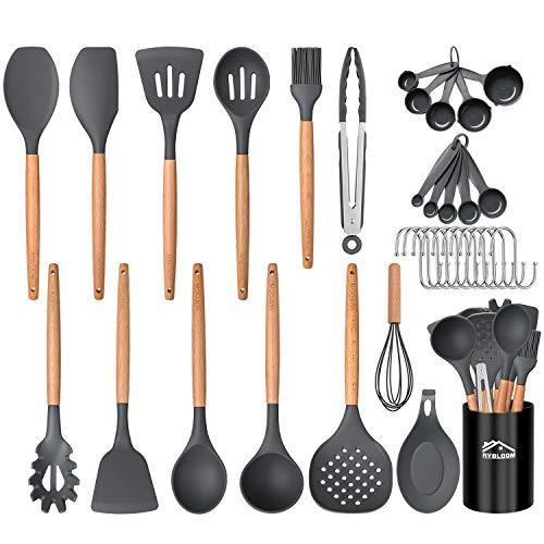 Aybloom 25 PCS Silicone Kitchen Cooking Utensil Set, Woodle Handle BPA Free Non Toxic Non-stick Heat Resistant Silicone Kitchen Gadgets Utensil Set(Black Gray 25pcs)