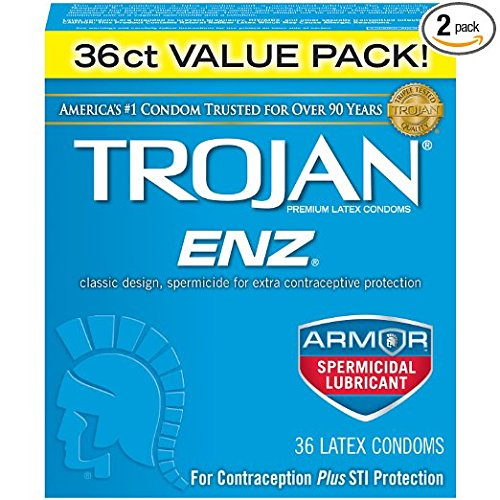 Trojan-Enz Lubricated Latex Condoms, Spermicidal 36 ct (Quantity of 2)