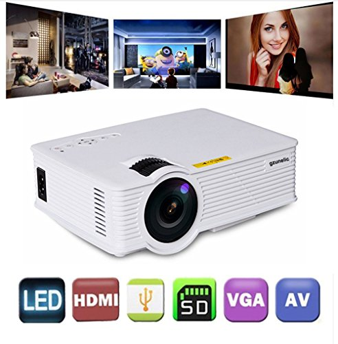 Gzunelic +30% Lumens Mini Led Video Projector Max 180