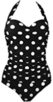 Bettydom Ladies One Piece Dot Swimsuit Retro Vintage Push Up Swimming Costume Halter Backless Swimwear M-4XL