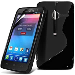 (Negro) Alcatel One Touch T S Línea Protección Pop Onda Caso cubra la piel Gel retráctil Capacative Pantalla Táctil Lápiz Óptico & 3 Pack Protector de pantalla LCD Protector Fone-Case