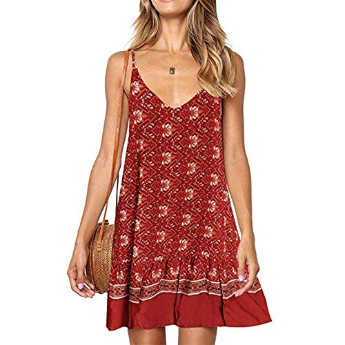LIM&Shop Women Summer Cami Dress Top Spaghetti Strap Mini Dress Tank Casual Floral Print Ruffles Hem Swing Skirt A-line Red