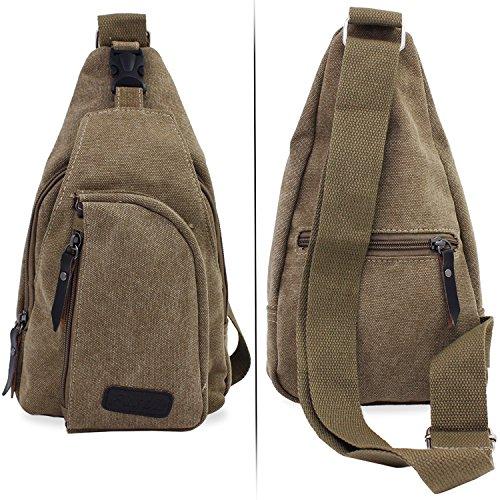 Senderismo Large de la bolsillo bolsa Sling Mochila PsmGoods® pecho bolsa de viaje Khaki hombro hombres lona Ocio FBpqUxCvn