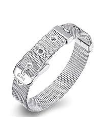 Silver Mesh Belt Buckle Bracelet 10mm 925