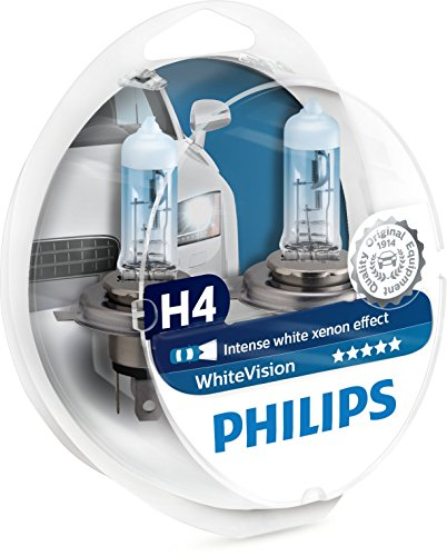 Philips WhiteVision 3700K Halogen Bulbs Xenon Effect (H4 Twin Pack)