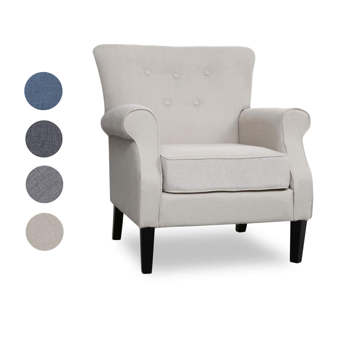 Top Space Accent Chair Sofa Mid Century Upholstered Roy Arm Single Sofa Modern Comfy Furniture for Living Room,Bedroom,Club,Office 1 PCs, White