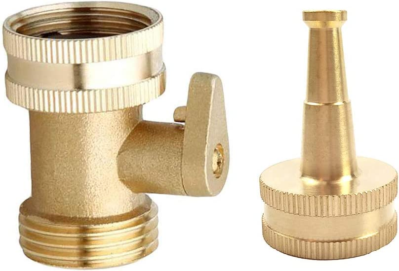 Hanobo 2 Pack Brass Shut Off Garden Hose Connectors with High Pressure Jet Sweeper Sprayer Nozzle