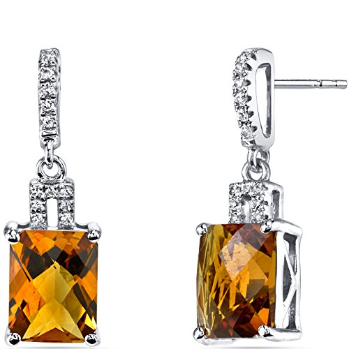 14K White Gold Citrine Earrings Radiant Checkerboard Cut 4.00 Carats