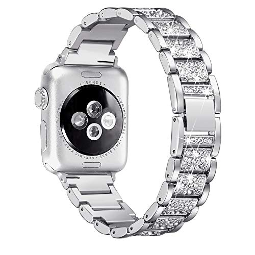 Secbolt Bling Bands Compatible Apple Watch Band 38mm 40mm Metal Replacement Wristband Compatible Iwatch Series 4 3 2 1, ()